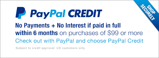 PayPal CREDIT - No Payments + No Interest if paid in full within 6 months on purchases of $99 or more. Check out with PayPal and choose PayPal Credit.